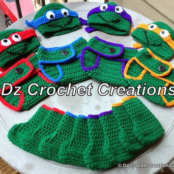 Crochet Ninja Turtle Photo Prop Diaper Cover Set by HandMadeByDz