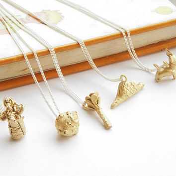 "INFANCIA Pendants in BRASS - Le Petit Prince inspired, fox, baobab, boa, rose, asteroid, 18"" curb chain, delicate necklace, little prince"