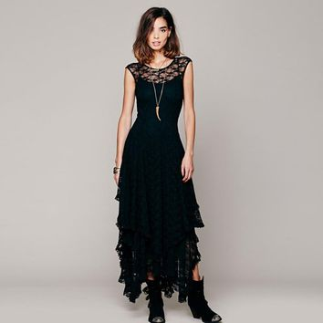 Women's Boho People Hippie Style Lrregular Lace Dress Sexy Long Dress Double Layered Ruffled Trimming Low V-Back Newest