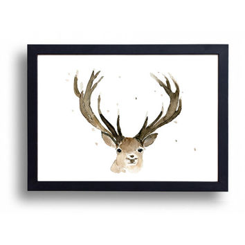 Reindeer original watercolor painting, reindeer watercolor, wild life, Christmas art, nursery decor, woodland art,deer art. reindeer head