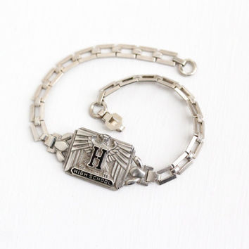 Vintage Sterling Silver Art Deco High School Bracelet - Geometric Repousse Eagle Rectangular Panel Black Enamel Letter H Graduation Jewelry