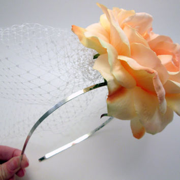 Georgia Peach - Rose & Birdcage Veil Bridal Headpiece - Crown Tiara - Wedding photo prop - Cottage Chic Bride