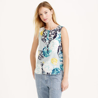 SLEEVELESS SILK SHELL IN AQUATIC FLORAL