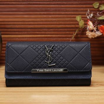 YSL Yves Saint Laurent Women Fashion Leather Shopping Wallet Purse-8