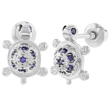 Rhodium Plated Purple CZ Small Turtle Earrings Screw Back for Girls