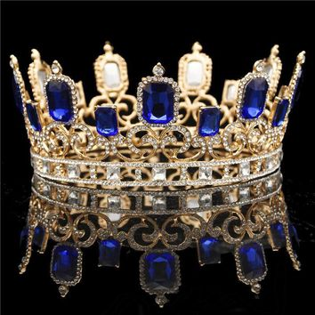 Cool Large Bride tiara Crown Wedding Hair Jewelry Crystal Tiaras and Crowns Headdress Queen King Hair Ornament Pageant DiademAT_93_12