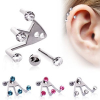 "316L Surgical Steel ""Trident Triple"" Round CZ Cartilage Earring"