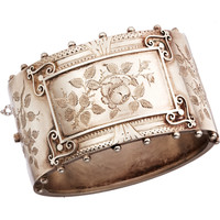 Olivia Collings Antique Jewelry Silver Floral Bangle at Barneys.com