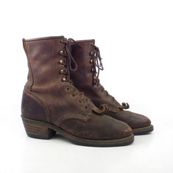 Roper Boots Vintage 1980s Oiled Brown Leather Cowboy Lace up Packer