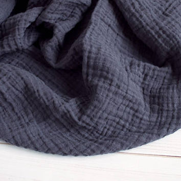 "Muslin Swaddle Blanket in Charcoal Grey - made from 100% cotton double gauze - generously sized 45"" square - baby blanket, baby gift"