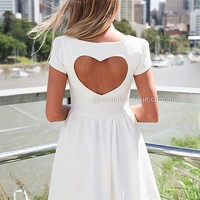 CAP SLEEVE HEART CUT OUT DRESS , DRESSES, TOPS, BOTTOMS, JACKETS & JUMPERS, ACCESSORIES, 50% OFF SALE, PRE ORDER, NEW ARRIVALS, PLAYSUIT, COLOUR, GIFT VOUCHER,,White,CUT OUT,SHORT SLEEVE Australia, Queensland, Brisbane