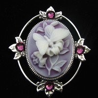Cameo Brooch or Pendant Butterfly with Amethyst Crystal Accents