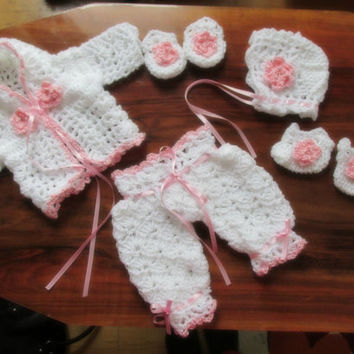 White pink baby set Baby sweater bonnet booties mittens pants  infant clothes newborn outfit matinee jacket layette