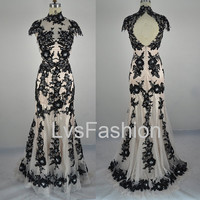 Mermaid High Neck Lace Black Evening Dresses Prom by LvsFashion