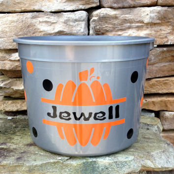 Halloween Bucket, Personalized, Made in USA with Reflective Tape Reusable Every Halloween Five Quart Size