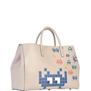 ANYA HINDMARCH Ebury Maxi Space Invaders leather shopper