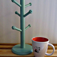 Upcycled Mug Tree - Jade Green - Jewelry Organizer, Kitchen Storage, Craft Display - Rustic Home Decor