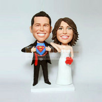 Custom Wedding Cake topper - opening shirt superman 620
