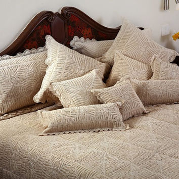 "Majestic Crochet Quilt - Handmade Crochet Quilted Bedspread- 60 x 90"" Inches- Decorative Pillows- Wedding Decor"