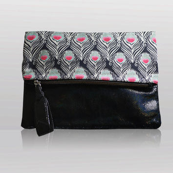Clutch Cross Body Bag Liberty Fabric Leather Peacock Feathers