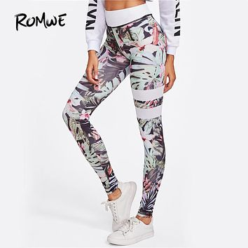 ROMWE Floral Print Striped Fitness Leggings 2017 Women Skinny Workout Casual Legging Fashion New Slim Brief High Waist Leggings