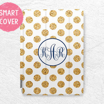 Personalized iPad Smart Cover, gold glitter print polka dots Monogram custom name case for iPad Mini, iPad mini 2, iPad Air, iPad Air 2