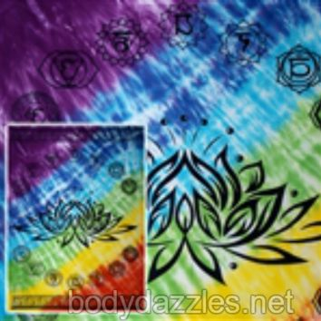 LOTUS Flower With Ring Of  7 CHAKRAS Tapestries Wall Hanging Bohemian Beach Blanket Bed Covering