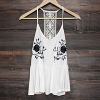 BSIC - floral embroidery + lace tunic tank top - ivory