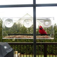Evelots Window Bird Feeder With Drain Holes and 3 Suction Cups, Large,Clear