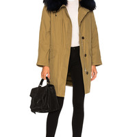 Army by Yves Salomon Classic Cotton Parka Jacket With Racoon Fur in Amazon Navy | FWRD