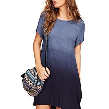 Romwe Women's Tunic Swing T-Shirt Dress Short Sleeve Tie Dye Ombre Dress Large