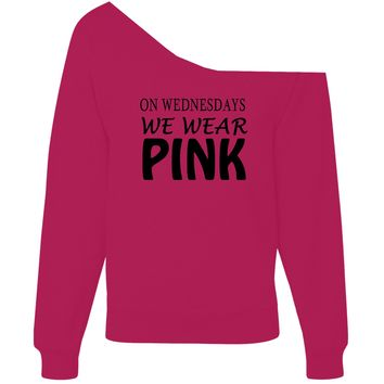 On Wednesdays We Wear Pink Off-Shoulder Wide Neck Slouchy Sweatshirt