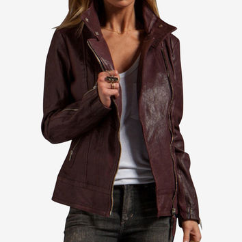 Mackage Burgundy Veruca Distressed Leather Jacket