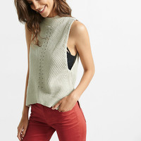 Sleeveless Shaker Knit Mock Neck Pullover
