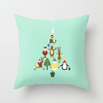 Christmas tree with reindeer, Santa Claus and bear Throw Pillow by Graf Illustration