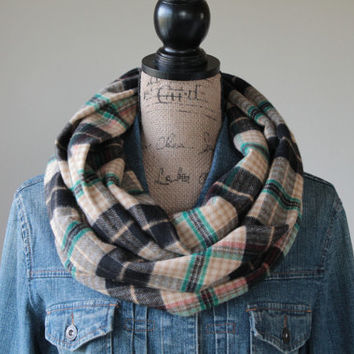 Plaid Infinity Scarf, Womens Scarf, Plaid Scarf, Fall Scarf, Mens Scarf, Flannel Scarf, Circle Scarf, Gift for Her, Loop Scarf, Teacher Gift