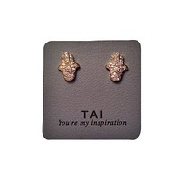Tai Hamsa Earrings - 18k Gold Stud Earrings w/Pave Diamonds