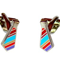 Tie Cufflinks Multi Colored Fashion Gift