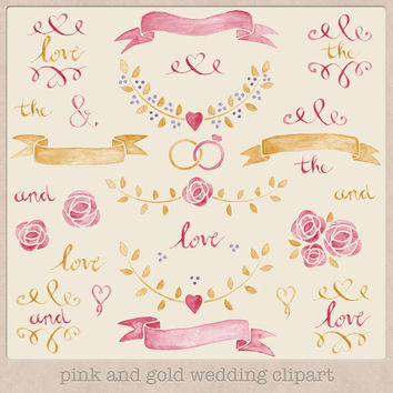 Wedding Clip Art Watercolour Pink and Gold Laurels and Banners hand drawn painted watercolor clipart wedding invitations making scrapbooking
