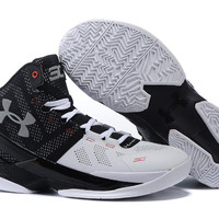 Men's Under Armour Stephen Curry 2 Iron Suit And Tie Black White Silver Oreo Basketball Shoes