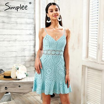 Simplee Strap hollow out lace dress women Cotton embroidery casual dress party 2018 Short summer dress female robe vestidos