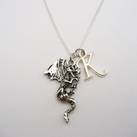 Dragon Necklace  Personalized Dragon Necklace Initial Necklace Letter Necklace Mythology Necklace Dragon Jewelry Dragon Lovers