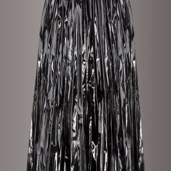 Black Diamond Pleated Faux Leather Vinyl Midi Skirt with Studs