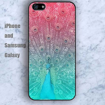 Pink peacock feathers iPhone 5/5S case Ipod Silicone plastic Phone cover Waterproof