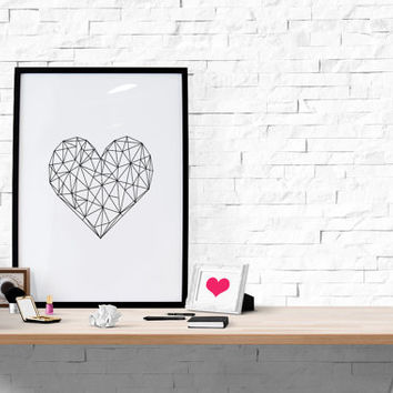 Geometric Heart Printable Heart Geometric Minimal Minimalist Poster Large Wall Art Large Poster Large Print Printable Wall Art
