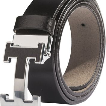 Menschwear Men's Geniune Leather Belt Slide Metal Buckle Adjutable Waistband 35MM