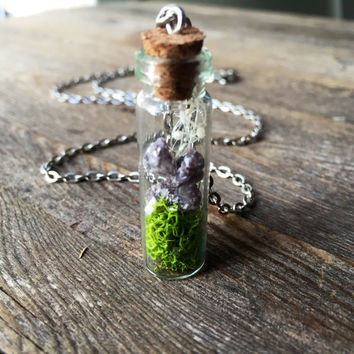 Terrarium Necklace Mini Fairy Garden Crystal Terrarium Necklace Raw Amethyst Crystal Necklace Moss Terrarium Spiritual Healing Crystals