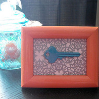 Repurposed Picture Frame with Key ~ Cute ~ Kitchy ~ Colorful ~ Creative