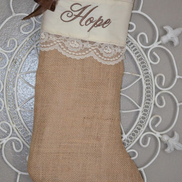 Burlap Vintage/Shabby Chic/Country Looking Christmas Stocking