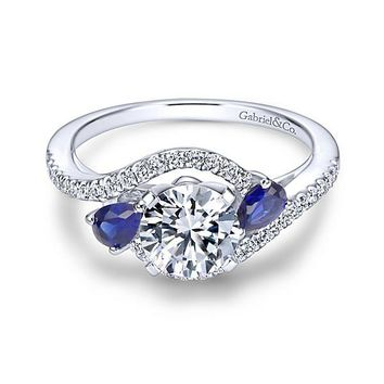 14K White Gold 1.20cttw Bypass Style Round Diamond Engagement Ring with Side Sapphires